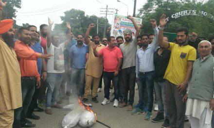 भाजपा कार्यकर्ताओं ने जलाया कांग्रेस और आप का पुतला