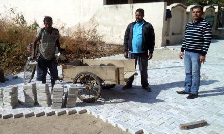 पार्षद मेहता ने गली के निर्माण कार्य का जायजा लिया