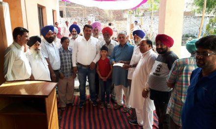 तीक्षण सूद ने नंदन गांव के विकास के लिए 4.5 लाख रुपए की ग्रांट दी