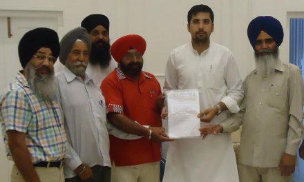 हलका विधायक नवांशहर अंगद सिंह को एक मांग पत्र सौंपा गया।