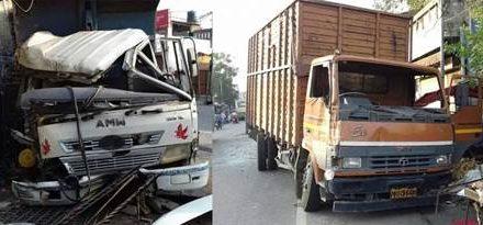 दो वाहनों में जबरदस्त टक्कर , दोनों के ड्राइवर घायल