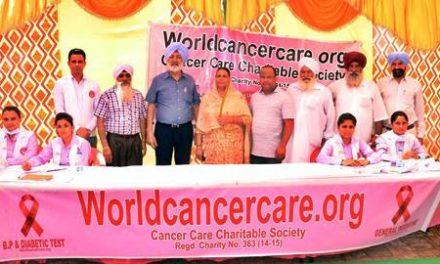 वर्ल्ड कैंसर केयर संस्था  ने  कैंसर जागरूकता व् चेकअप शिवर का आयोजन किया
