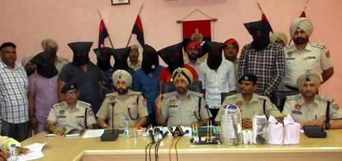 होशियारपुर पुलिस ने सुपारी किलर गैंगस्टर राजीव राजा गैंग  के 8 सदस्यों को गिरफ्तार किया