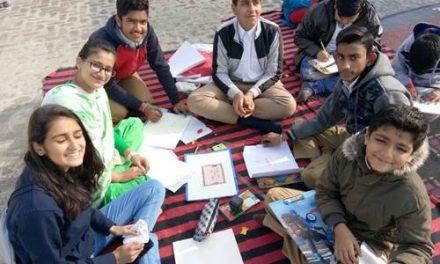 पेटिंग मुकाबलों के दौरान बच्चों ने दिया अध्यात्मिकता का संदेश