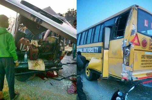 लवली युनिर्वसिटी की बस से टकराई क्वालिस गाड़ी  , 5  की मौत , 2  घायल
