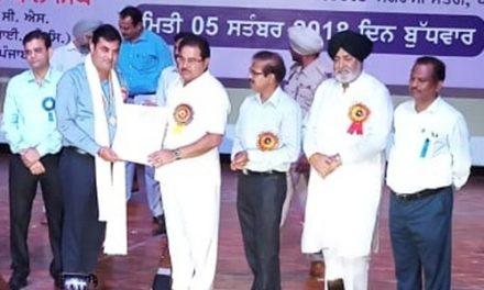 प्रिंसीपल शैलेंद्र ठाकुर अध्यापक विशेष पुरस्कार से सम्मानित