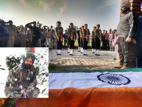 लेह लदाख में शहीद हुए बलजिंद्र को सैंकड़ो नम आँखों ने दी अंतिम विदाई