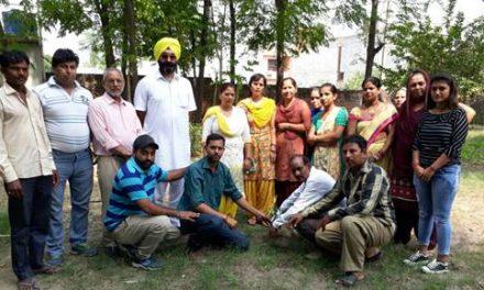 आम आदमी नेताओं ने पौधे लगा मनाया शहीद ए आजम भगत सिंह का जन्म दिवस