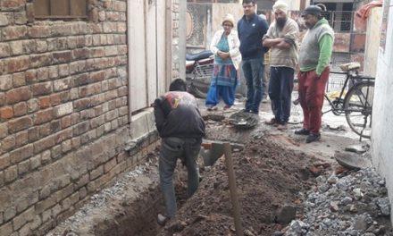 हरीश आनंद ने बहादुरपुर में बनाई जा रही गलियों का किया निरीक्षण