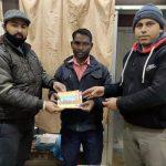 श्री राम मंदिर हेतु ठेकेदार मोहम्मद कुर्बान ने 1100 रुपए धन राशि भेंट की